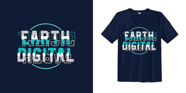 Earth digitale glitch typografie t-shirt ontwerp
