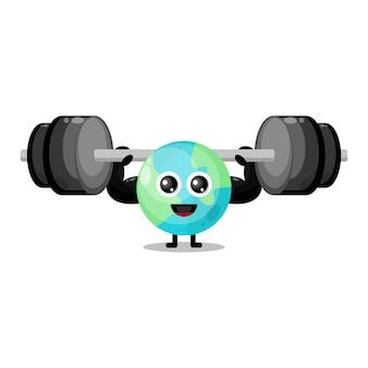 Earth fitness barbell schattig karakter mascotte