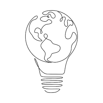 Earth globe binnen gloeilamp in één doorlopende lijntekening. vectorconcept van eco-innovatie, idee van groene energie en globale oplossing met elektriciteit in eenvoudige krabbelstijl. bewerkbare streek