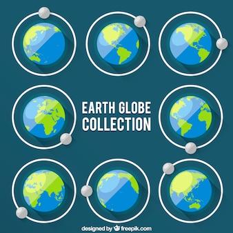 Earth globe collectie met maan beweging