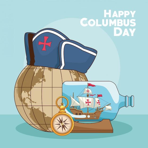 Earth globe en happy columbus dag ontwerp