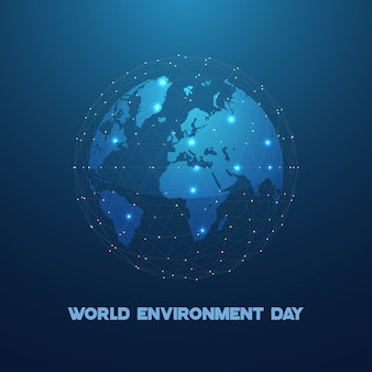 Earth globe icon inside network lines - art for world environment day