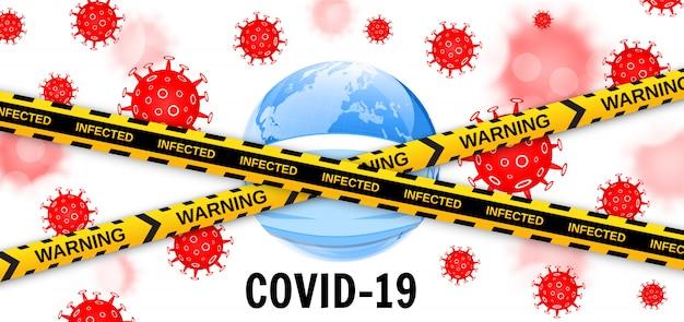 Earth globe in een medisch masker met virussen en voorzichtigheid barrière tapes. gevaarlijke pandemie covid-19 coronavirus-uitbraak. vector illustratie