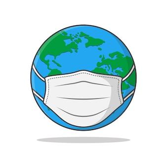 Earth globe in medisch gezichtsmasker
