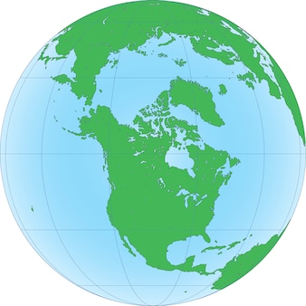 Earth globe met gericht op noordpool