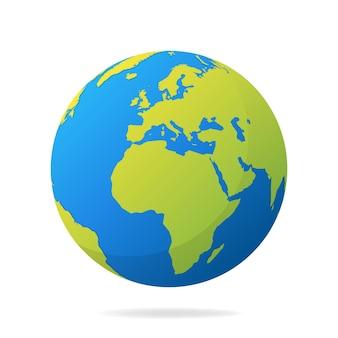 Earth globe met groene continenten. moderne wereldkaart concept. wereldkaart realistische blauwe bal illustratie.