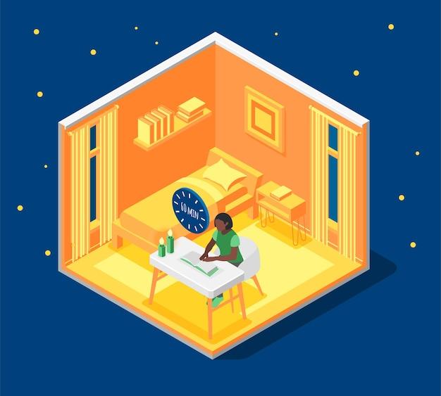 Earth hour isometrische compositie met vrouw die leest bij kaarslicht