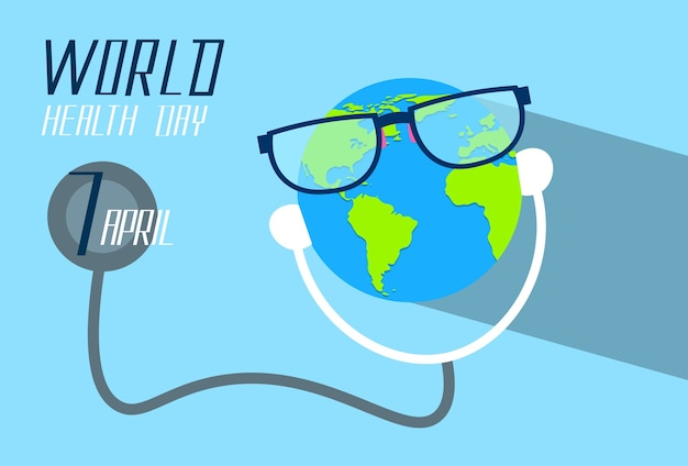 Earth planet wearing glasses stethoscope health world day