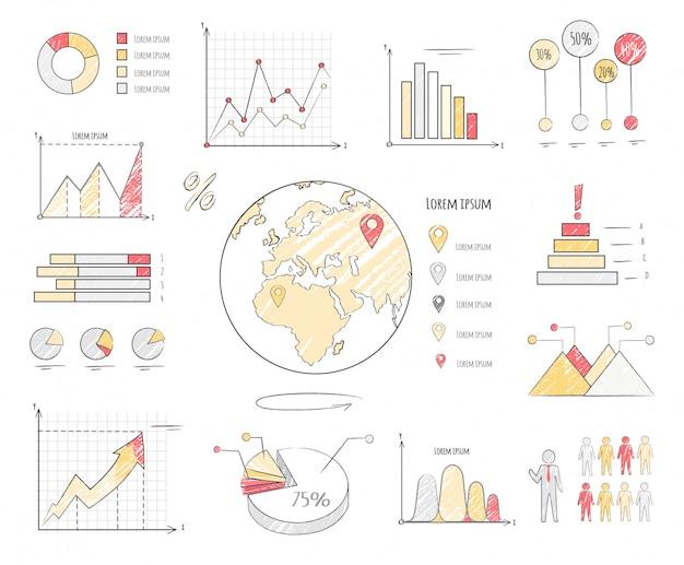 Earth population statistics charts vector