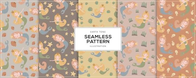 Earth tone illustratie van zeemeermin naadloos patroon