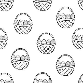 Easter basket met eieren zwart-wit naadloze patroon kleurplaat pagina illustratie