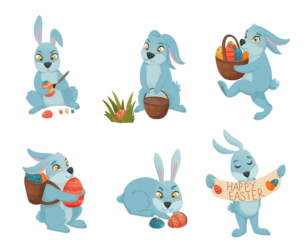 Easter bunnies cartoon collection