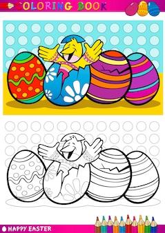Easter chick cartoon illustratie om in te kleuren