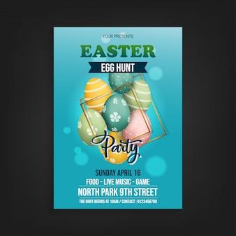Easter egg hun flyer-sjabloon vector