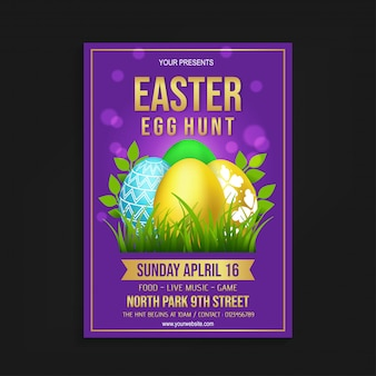 Easter egg hunt flyer sjabloon