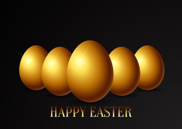 Easter egg wenskaart met gouden eieren