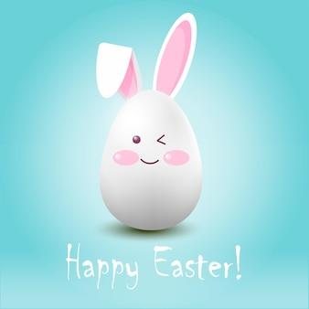 Easter egghare op een blauwe achtergrond met de inscriptie vrolijk pasen