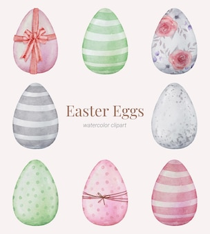 Easter eggs hand verf aquarel collectie