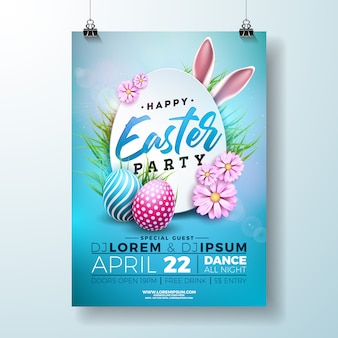Easter party flyer illustratie met eieren en konijnenoren