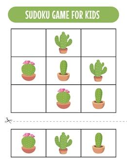 Easy sudoku-spelwerkbladen voor kinderen met cue cactus
