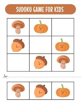 Easy sudoku-spelwerkbladen voor kinderen met kawaii autumn