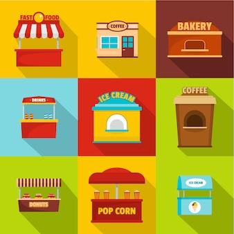 Eatery-pictogrammen instellen. platte set van 9 eetcafe vector iconen