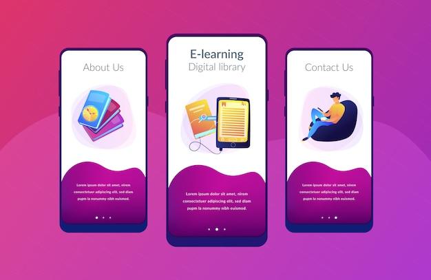 Ebook app interface sjabloon.