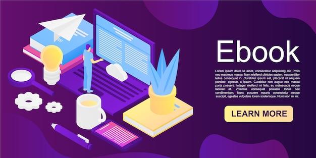Ebook-concept, isometrische stijl
