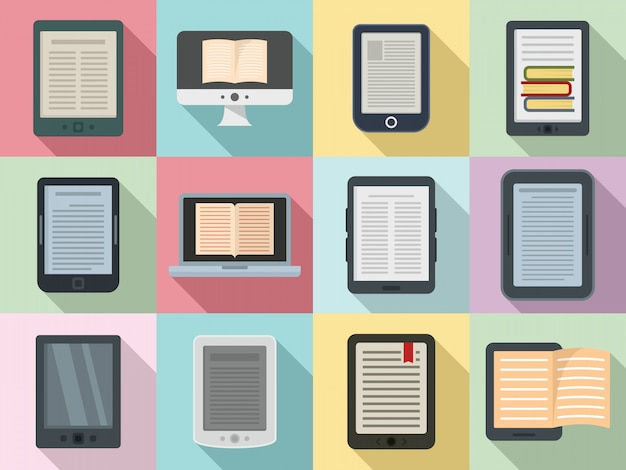 Ebook iconen set, vlakke stijl