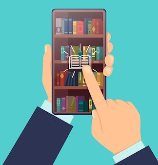 Ebook kiezen. boekenplanken op scherm van smartphone slimme onderwijs digitale technologie voor het leren van cartoon concept