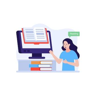 Ebook met persoon in vlakke afbeelding ter aanduiding van leraar die online concept onderwijst