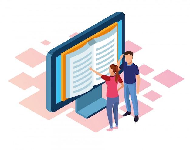Ebook ontwerp van computer met boek op scherm en vrouw en man die op wit staan