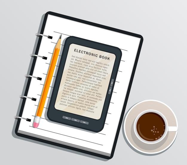 Ebook op digitaal tabletscherm. e-boek e-lezer op wit wordt geïsoleerd dat