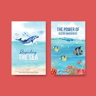 Ebook sjabloonontwerp voor world oceans day concept met zeedieren, walvis en vissen aquarel vector