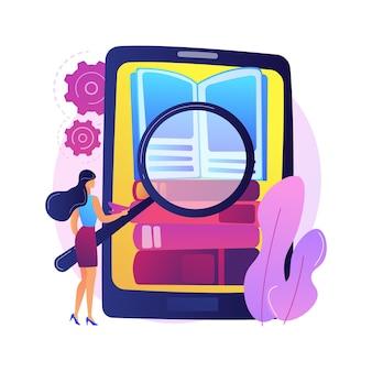 Ebooks collectie. bibliotheekarchief, e-lezing, literatuur. mannelijke stripfiguur laden van boeken in ereader. man romans in omslagen op boekenplank zetten.