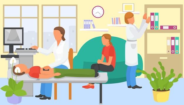 Echografie procedure in het ziekenhuis, vectorillustratie. geduldig mannelijk karakter krijgt medische scan bij kliniek, medicijntechnologie voor gezondheidszorg. platte dokter gebruikt apparatuurscanner voor orgaanonderzoek.