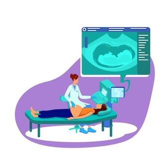 Echografie voor zwangere vrouw platte concept illustratie