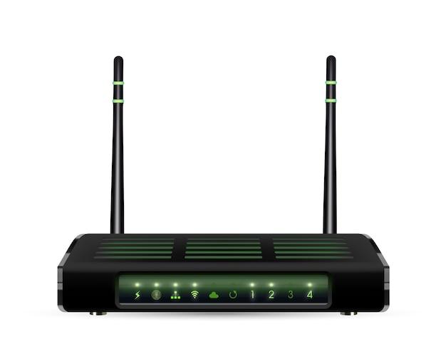 Echte 3d adsl wifi-router op een witte achtergrond