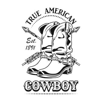 Echte amerikaanse cowboy vectorillustratie. cowboylaarzen en gekruiste pijlen met tekst
