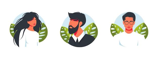 Echte mensen portretten hand getekende vlakke stijl vector design concept illustratie van mannen en vrouw, mannelijke gezichten en schouders avatars. vlakke stijl vector iconen set.modern mooie avatar van man en vrouw