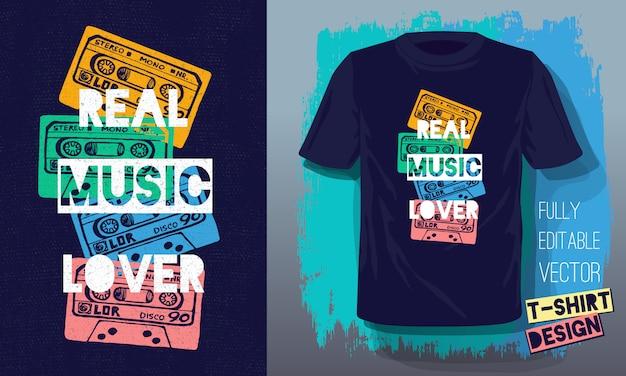 Echte muziekliefhebber belettering slogan retro schetsstijl tapecassette voor t-shirtontwerp