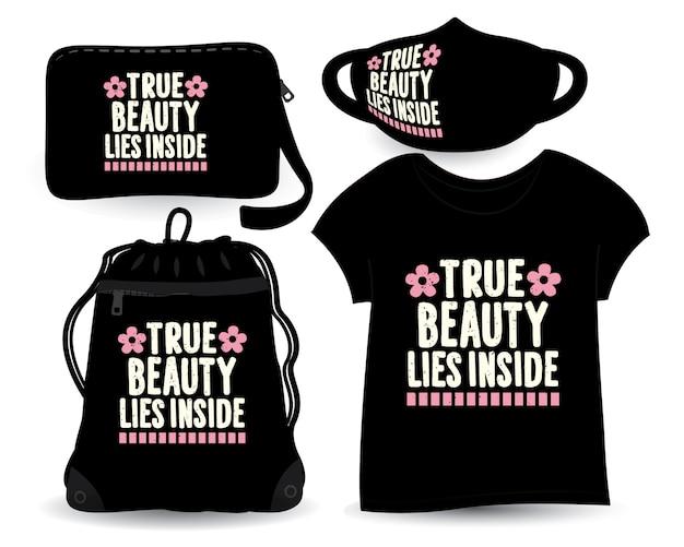 Echte schoonheid ligt in het beletteringontwerp voor t-shirt en merchandising