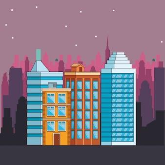 Echte staat gebouwen cartoon