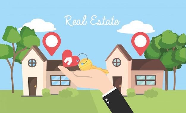 Echte staatshuizen met locatie en zakenman met sleutel