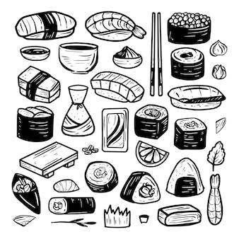 Echte tekening pictogram doodle schetst sushi eten set collectie