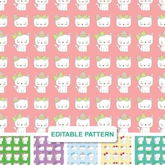 Echtelieden cat hand drawn bewerkbare patroon