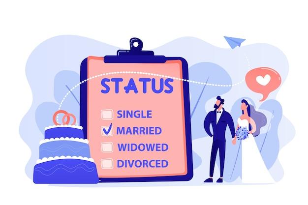 Echtpaar en burgerlijke staat op klembord, kleine mensen. relatiestatus, burgerlijke staat en scheiding, huwelijk en echtscheiding concept. roze koraal bluevector geïsoleerde illustratie