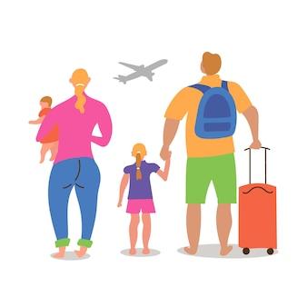 Echtpaar kinderen verschillende nationaliteiten gaan op vakantie vlieg vliegtuig kwam luchthaven