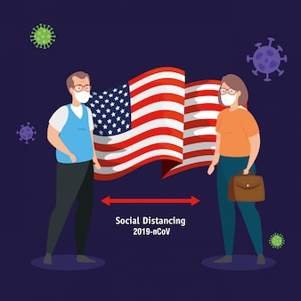 Echtpaar met de vlag van de vs covid19 pandemie