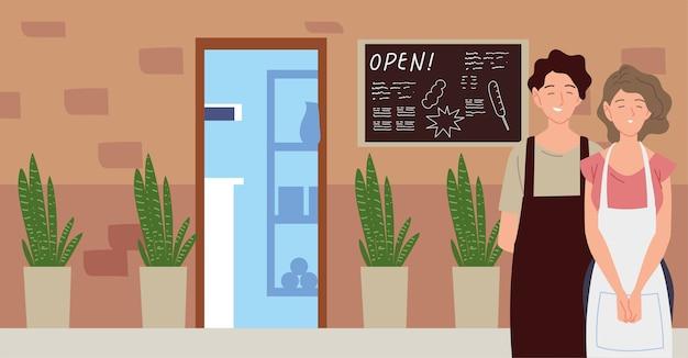Echtpaar met schort straat restaurant gevel met schoolbord illustratie
